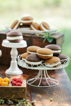 Wedding Desserts | Move over Wedding Cake! Whoopie Pies for Us! | Photography: Sarah Jayne Photography | Pies Topsfield Bakeshop | http://www.stylemepretty.com/massachusetts-weddings/2013/11/12/summers-bounty-inspired-shoot-by-the-little-things-sarah-jayne-photography