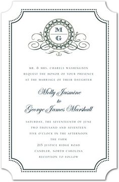 Fine Monogram - Thermography Wedding Invitations - Jenny Romanski - White : Front