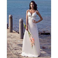 Wedding Dress Sheath Column Court Train Stretch Satin V Neck Straps With Beading – USD $ 79.99