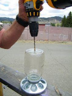 drilling a glass jar