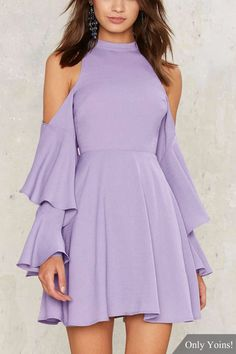 Purple Fashion Cold Shoulder Crew Neck Cut Out Flare Sleeves Mini Dress