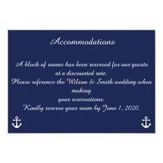 Navy Blue Nautical Wedding Accommodations Cards