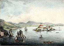 Trondhjemsfjorden med Munkholm festning og båter. Fargelagt litografi av Peter Frederik Wergmann Fra Norsk Prospekt-Samling 6. hefte 1835