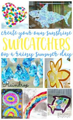 21 Suncatcher Craft Ideas for Kids - Create your own sunshine with your kids on a summer rainy day indoors! - at B-Inspired Mama