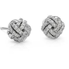 Blue Nile Love Knot Diamond Earrings ($1,095) ❤ liked on Polyvore featuring jewelry, earrings, accessories, brincos, jewels, diamond jewellery, love knot earrings, diamond earrings, 14 karat gold earrings and love knot stud earrings