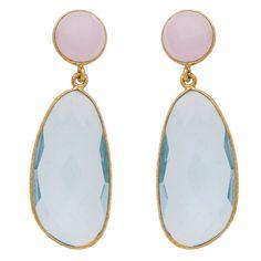 Blue topaz and rose quartz symmetrical double drop earrings – carouseljewels.com