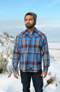 Bolster his casual-wear collection with this breathable cotton-blend button-up that features a cool, moisture-wicking design and classic plaid print. Plaid Flannel, Flannel Shirt, Dolly Varden, Casual Wear, Men Casual, Blue And Copper, Outdoor Outfit, Chambray, New Product