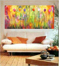 Large modern textured painting big bold floral diptych Marems made to order