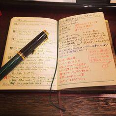 今週の#おっちゃん手帳 の中身。英語日記もなんとか続いております! #手帳 #万年筆 #fountainpen #日記 #能率手帳 #能率手帳GOLD
