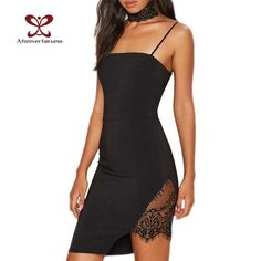 2017 Forever New Women Slash Neck Dress Sexy Spaghetti Strap Bra Irregular Hem Lace Stitching Slim Nightclub Party Dress NC-1139 IRAM's Store