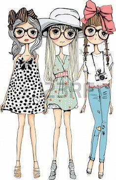 boceto ilustración muchacha recogida Foto de archivo - 14007236