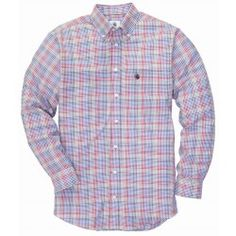 The Goal Line Shirt- Red/Blue Multi Check | Southern Proper