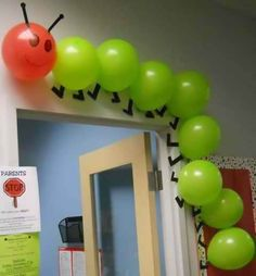 "Using balloons to create a classroom caterpillar is a creative idea. This would be great to use for ""The Very Hungry Caterpillar"" by Eric Carle. Hungry Caterpillar Party, Caterpillar Craft, Caterpillar Bulletin Board, Counting Caterpillar, The Very Hungry Caterpillar Activities, Classroom Door, Eyfs Classroom, Future Classroom, Classroom Themes"