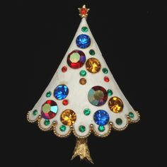 Christmas Tree Pin, Weiss