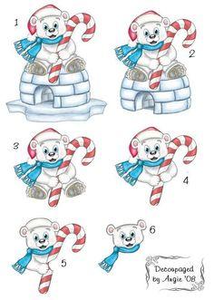 Polar Bear on Igloo with Candycane