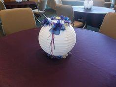 guest table rice paper lantern centerpiece
