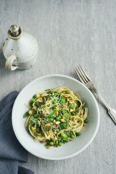 Spring Pasta with Basil Pesto, Peas and Pine Nuts