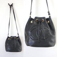 Vintage Chanel Black Leather Bucket Bag CC by EmilysFancies