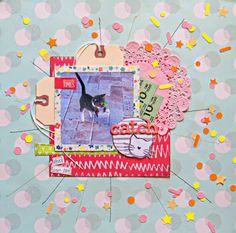 Christy Strickler for Get It Scrapped- Cat/pet Scrapbook layout with a burst design to show the pet's energy