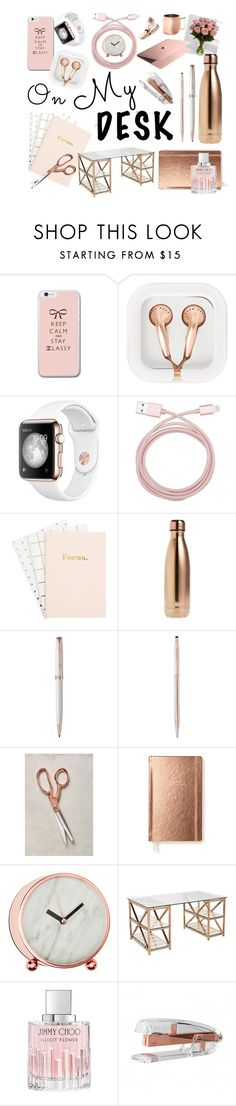 """Rose gold heaven"" by ellie-saunders ❤ liked on Polyvore featuring interior, interiors, interior design, home, home decor, interior decorating, claire's, Belkin, S'well and Parker"