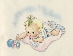 vintage greeting card Images Vintage, Vintage Artwork, Cartoon Girl Images, Purchase Card, Baby Illustration, Old Cards, Retro Baby, Hallmark Cards, Vintage Greeting Cards