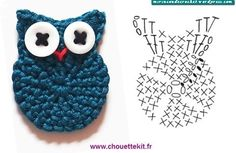 Petite Chouette - free French crochet Owl applique pattern with chart by Chouette KitCrochet Owl chart by Chouette Kit. Owls were big when I was in High School.Crochet Owl - Chart- seriously need to learn how to read those charts for both knitting an Crochet Birds, Love Crochet, Crochet Animals, Diy Crochet, Crochet Flowers, Crochet Baby, Crochet Fabric, Beautiful Crochet, Single Crochet