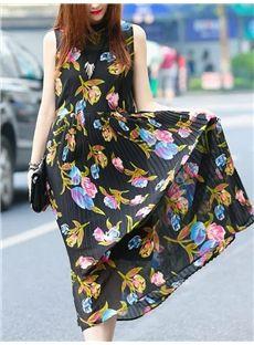 欧米セレブ愛用新 ファッション気質花プリントシフォンマキシワンピース