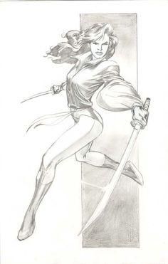 Kitty Pryde in sword-fighting stance, drawn by Alan Davis.