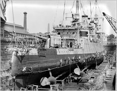 Light cruiser USS Marblehead (CL-12) in dry dock, Boston Navy Yard, June 1932.