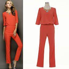 Image result for pants orange women suit Grey Fashion, Suits For Women, Jumpsuit, Orange, Pants, How To Wear, Dresses, Overalls, Monkey