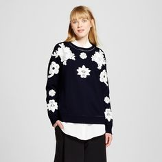 Women's Navy and White Floral Lace Appliqué Sweat Top - Victoria Beckham for Target : Target