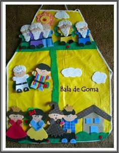 Avental de historia , com peças presas por velcro ( peças em EVA) Story Sack, Play Mats, Puppets, Apron, Diy And Crafts, Kids, Kids Apron, Pillow Pets, Educational Activities