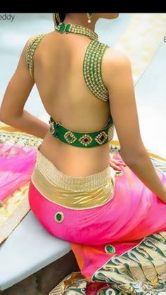 Wow my mom will totally approve of this - lavanya #saree #blouse #bridal