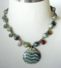 Agate Statement Necklace, Semiprecious Pendant, Chunky Necklace, Earthtones, Greens. $83.00, via Etsy.