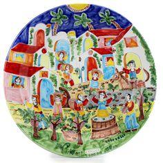 "LA MUSA - Large Round Wall Plate: 'Sicilian Grape Harvest', 25""D | Artistica Italian Ceramics"