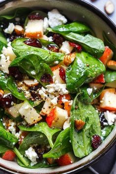 Apple Almond Feta Spinach Salad – Crunchy, sweet and easy to make, this healthy spinach salad is full of fresh flavors. Apple Almond Feta Spinach Salad – Crunchy, sweet and easy to make, this healthy spinach salad is full of fresh flavors. Spinach Salad Recipes, Healthy Salad Recipes, Diet Recipes, Healthy Snacks, Vegetarian Recipes, Healthy Eating, Cooking Recipes, Simple Salad Recipes, Spinach Apple Salad