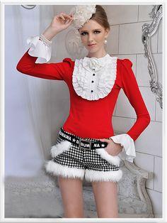 Morpheus Boutique  - Red White Ruffle Bow Hem Flare Sleeve Shoulder Shirt
