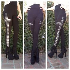 #cross Studded Cross Leggings