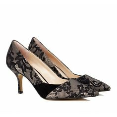 pretty lace pointed toe pumps