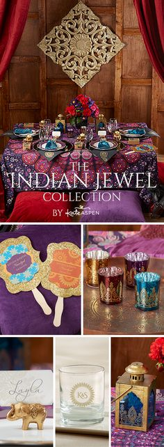 COLORS Featuring intricately detailed elephant favors and other exotic Indian decor in a jewel tone color scheme that features gold, ruby red, and amethyst, these jewel tone wedding decor pieces are an exotic way to add color to your wedding theme. Indian Wedding Decorations, Wedding Themes, Wedding Colors, Diy Wedding, Indian Decoration, Trendy Wedding, Wedding Ideas, Wedding Centerpieces, Wedding Reception
