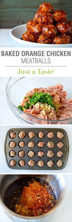 Baked Orange Chicken Meatballs #recipe on justataste.com