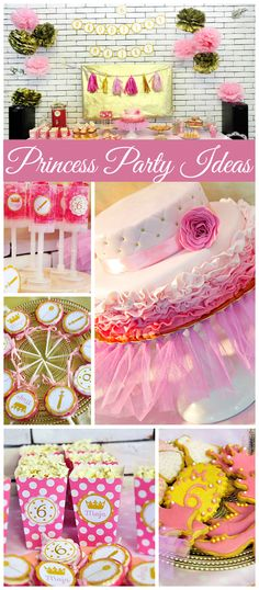 A lovely pink and gold princess girl birthday party with a stunning ombre ruffle cake! See more party planning ideas at CatchMyParty.com!