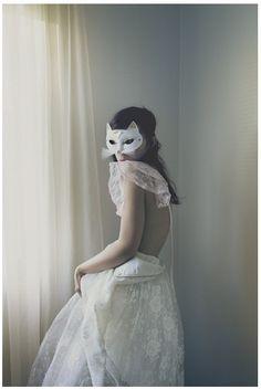 Kitty mask for a Mardi Gras or masquerade wedding.
