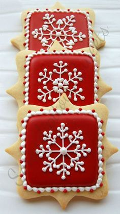 Royal Icing Decorating Christmas Cookies with Red Background and White Snowflakes.