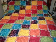 New Handmade FLANNEL RAG QUILT Queen sized by QuiltsByTaylorDesign, $350.00