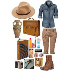 My interpretation of an archaeologist.   All products belong to the rightful owners. Created in the Polyvore iPhone app. http://www.polyvore.com/iOS