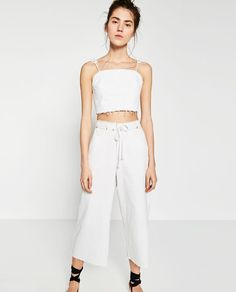 Image 2 of DENIM CULOTTES WITH CORD from Zara