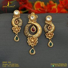 Jewelry OFF! Gold 916 Premium Design Get in touch with us on 919904443030 Gold Earrings Designs, Gold Jewellery Design, Gold Drop Earrings, Gold Jewelry, Gold Necklace, Bridal Jewellery, Fashion Jewellery, Handmade Jewellery, Stylish Jewelry