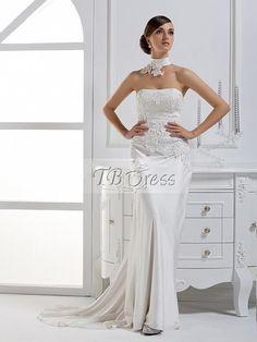 Dramatic Column Strapless Floor-length Court Train Wedding Dress