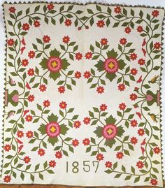 Abigail Hill (dates unknown)  Probably Indiana  Dated 1857–1858  Cotton  79 3/4 x 70 in.  American Folk Art Museum,